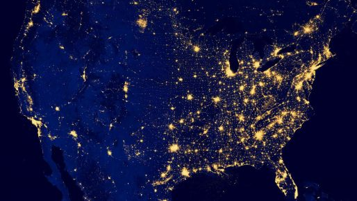 A Satellite Image of the United States at Night with Lights