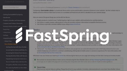 FastSpring Logo Overlayed on Documentation Library