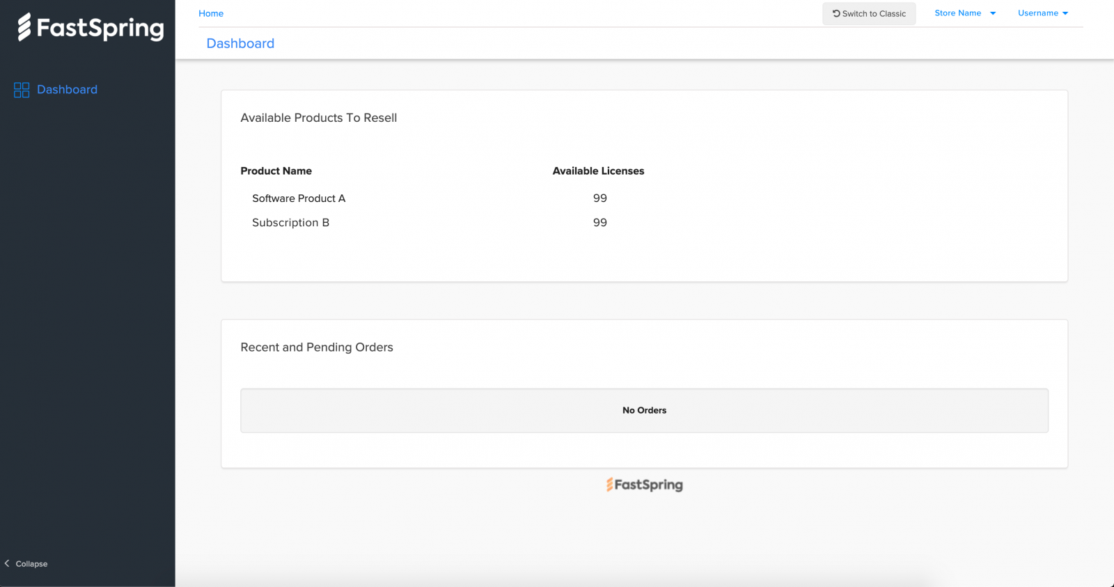 Screenshot of reseller view for partners