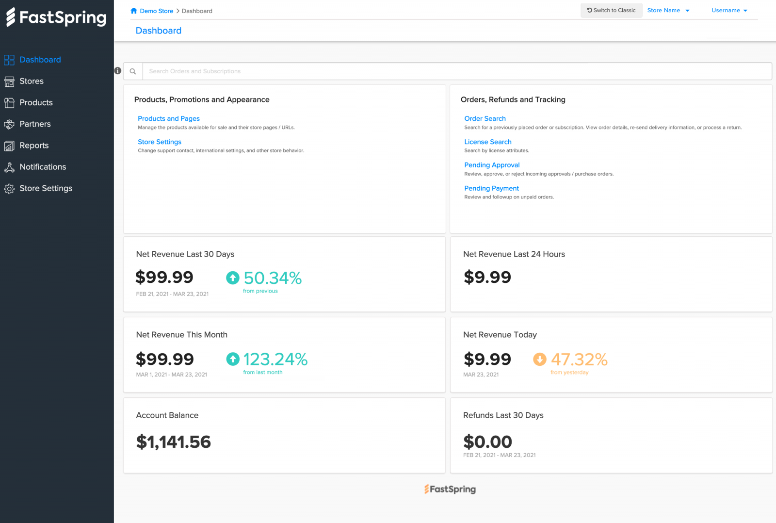 screenshot of fastspring's new user interface for resellers, reseller stores, and partners